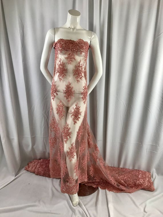 Dusty rose marvelous design embroider and beaded on a mesh lace-prom-nightgown-decorations-dresses-fashion-apparel-sold by the yard.