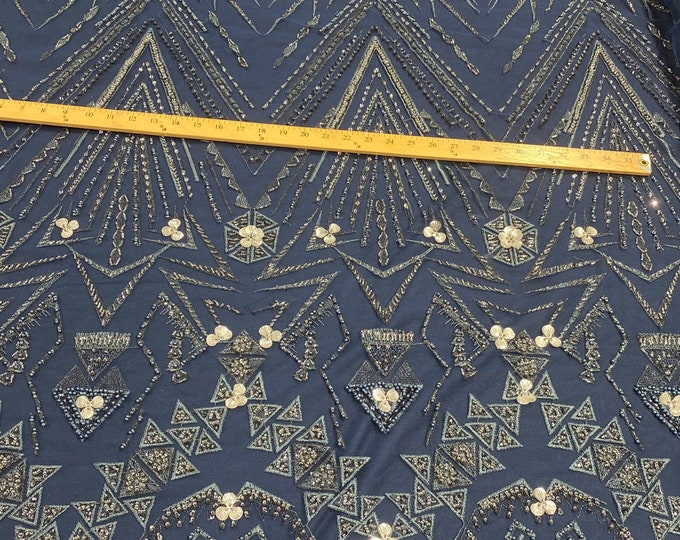 Navy multi color geometric design with heavy beaded and sequins on a mesh lace-prom-nightgown-sold by the yard.