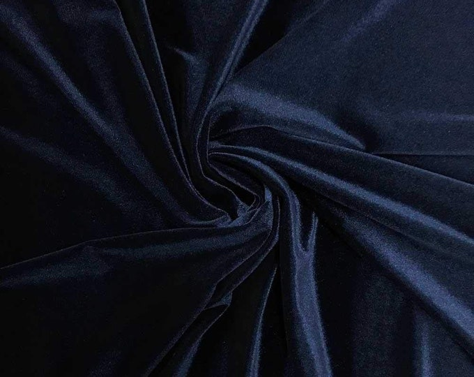 """Navy Blue 60"""" Wide 90% Polyester 10 present Spandex Stretch Velvet Fabric for Sewing Apparel Costumes Craft, Sold By The Yard."""