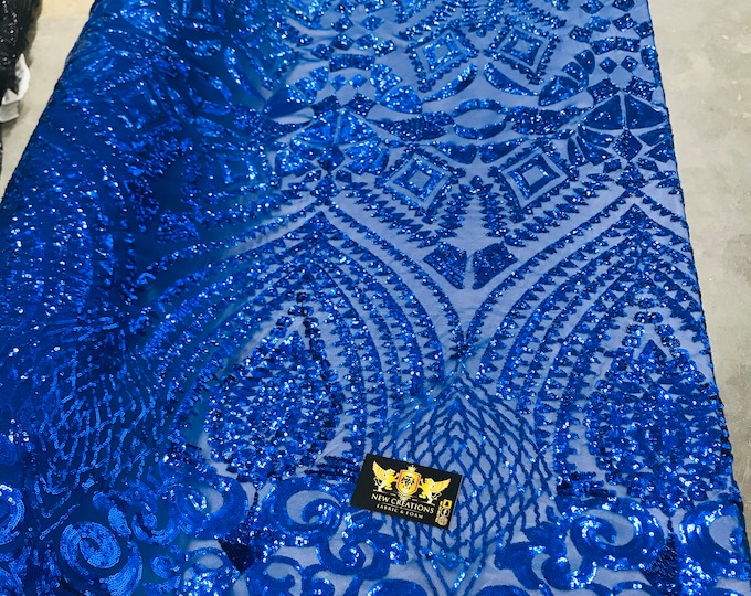 New royal blue shiny diamond design with sequins on a 4 way stretch mesh-prom-nightgown-sold by the yard-free shipping in the USA.