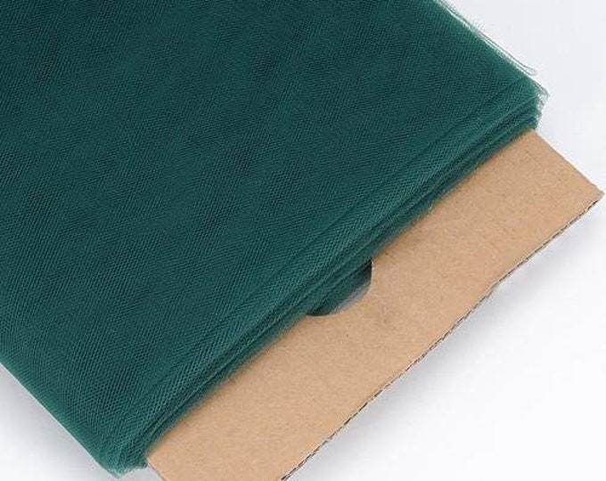 """Hunter Green 54"""" Wide by 40 Yards Long (120 Feet) Polyester Tulle Fabric Bolt, for Wedding and Decoration."""