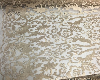 Champagne damask design embroider on a 2 way stretch mesh lace fabric-wedding-bridal-prom-nightgown-sold by the yard-