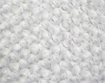"""White 58-60"""" Wide Minky Swirl Rose Blossom Ball Rosebud Plush Fur Fabric Polyester Sold By The Yard."""