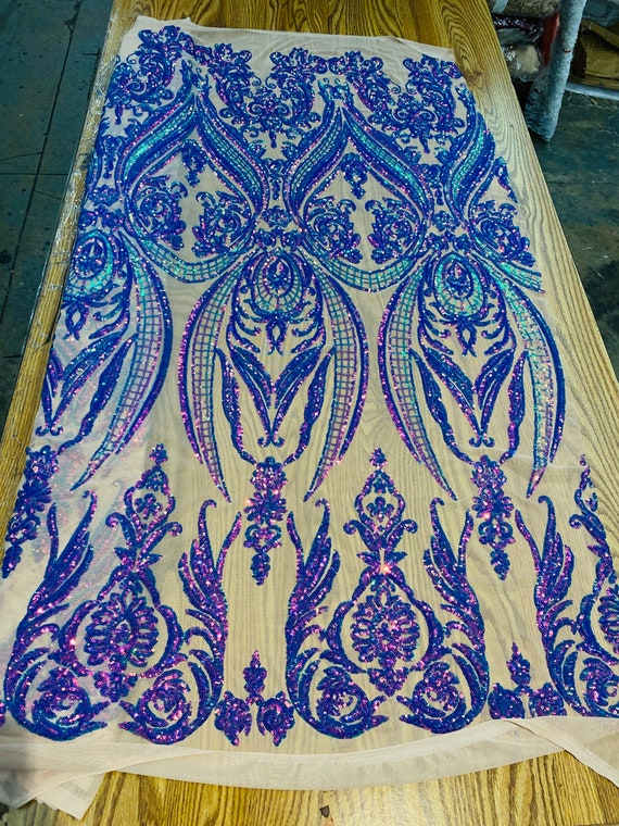 """Lavender/Green iridescent sequin damask design on a nude 4 way stretch mesh-48""""-50""""-prom-nightgown-sold by the yard."""
