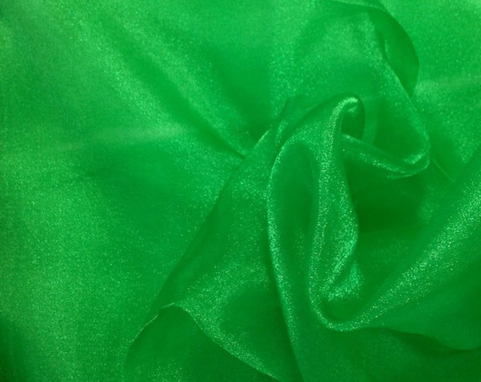 """Kelly Green 58/60"""" Wide 100% Polyester Soft Light Weight, Sheer, See Through Crystal Organza Fabric Sold By The Yard."""