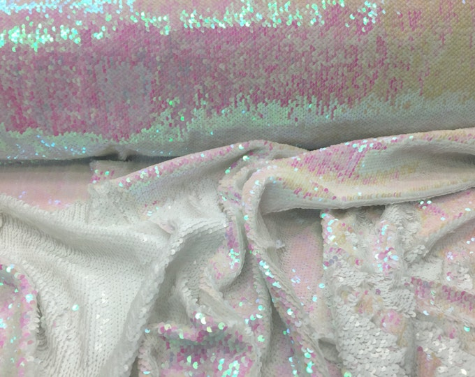 Matt white/pink hologram mermaid fish scales- 2 way stretch lycra- 2 tone flip flop sequins- sold by the yard.