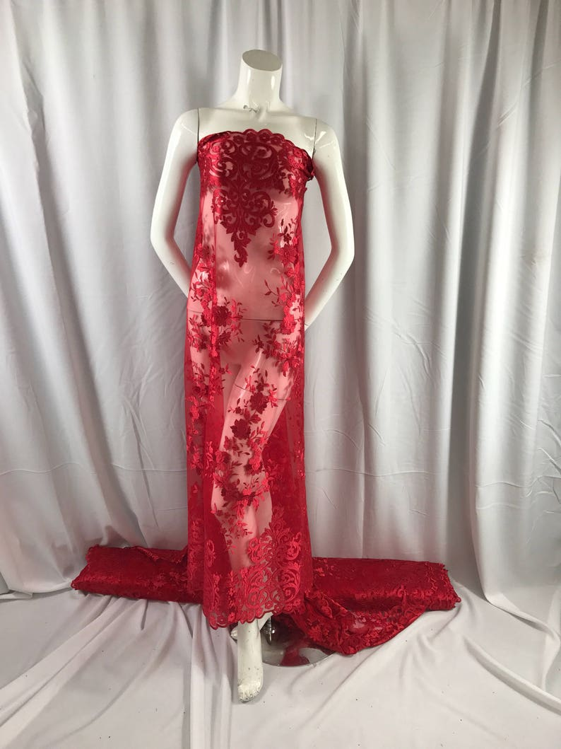 Red flowers enbroider on a 2 way stretch mesh lace.weddingBridalPromNightgown fabric-apparel-fashion-dresses-Sold by the yard.