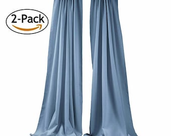 Steel Blue 2 Panels Backdrop Drape, All Sizes Available in Polyester Poplin, Party Supplies Curtains.
