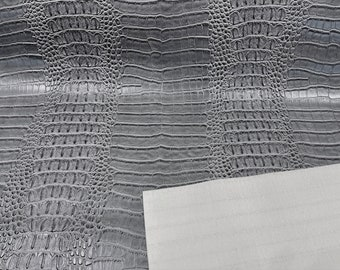 """Gray  53/54"""" Wide Gator Fake Leather Upholstery, 3-D Crocodile Skin Texture Faux Leather PVC Vinyl Fabric Sold By The Yard."""