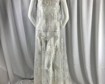 Ivory paisley flower embroider and corded with metallic silver tread-wedding-bridal-prom-nightgown-decorations-dresses-Sold by the yard.