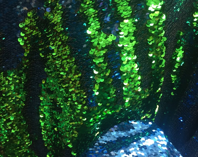 Green blue shinny mermaid fish scale 2 way stretch flip flop fabric-prom-nightgown-dresses-decorations-sold by the yard.