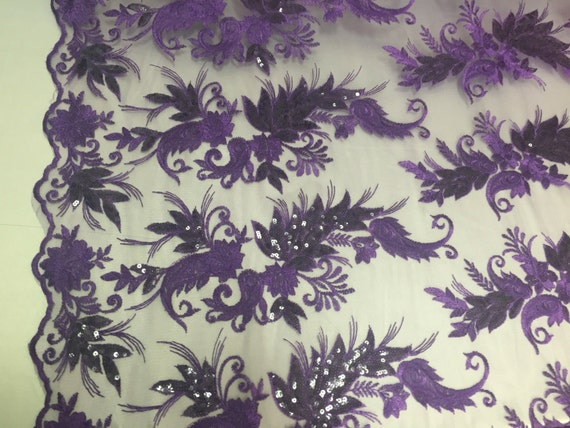 Purple paisley flowers embroider with sequins on a mesh lace fabric. Wedding-bridal-prom-nightgown fabric- sold by the yard.
