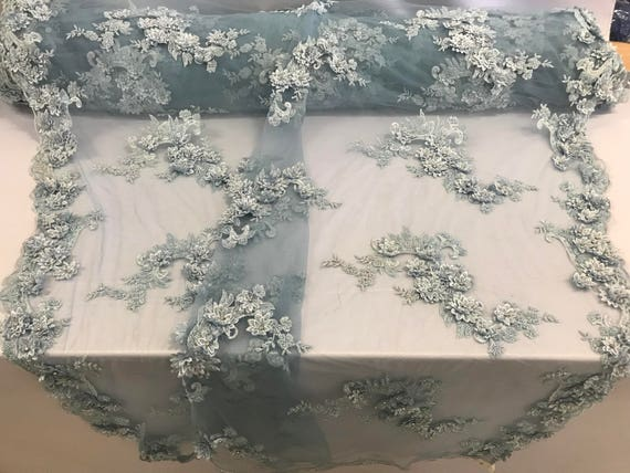 Light blue 3d floral design embroidery-hand beaded with rhinestones on a mesh lace-dresses-fashion-prom-nightgown-prom-sold by yard.