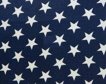 White On Navy Blue Greats American Stars Poly Cotton 58' Wide Fabric Sold by The Yard USA Patriotic Polycotton.