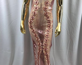 Blush peach goddess design floral embroidery with sequins and pearls on a 4 way stretch mesh-dresses-prom-nightgown-fashion-sold by the yard