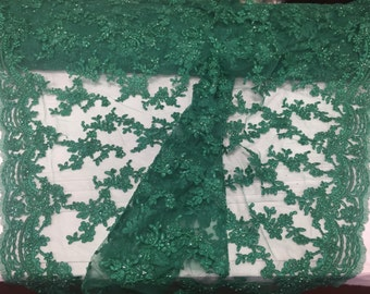 Jade flower tiara design embroider and beaded on a mesh lace-prom-nightgown-decorations-dresses-sold by the yard.