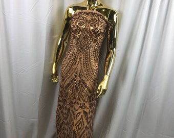 Nude color geometric diamond design embroidery with sequins on a 4 way stretch mesh-dresses-prom-nightgown-sold by the yard.