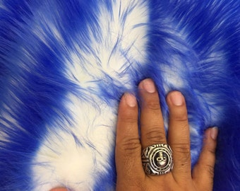 Royal blue/ ivory deluxe cotton candy design- shaggy faux fun fur-2 tone super soft faux fur- sold by the yard.