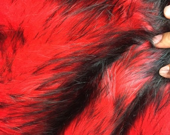 """Red/black husky faux fur, 2 tone shaggy faux fur. Sold by the yard. 60"""" wide."""