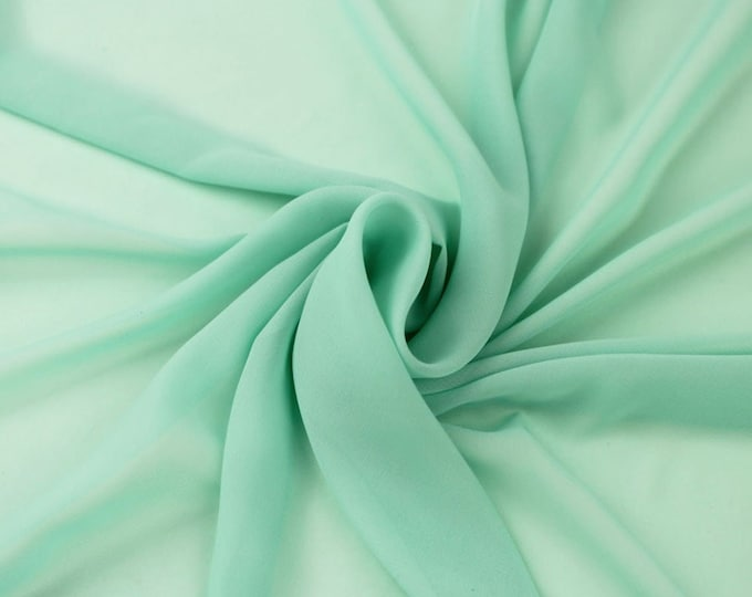 """Mint 58/60"""" Wide 100% Polyester Soft Light Weight, Sheer, See Through Chiffon Fabric Sold By The Yard."""
