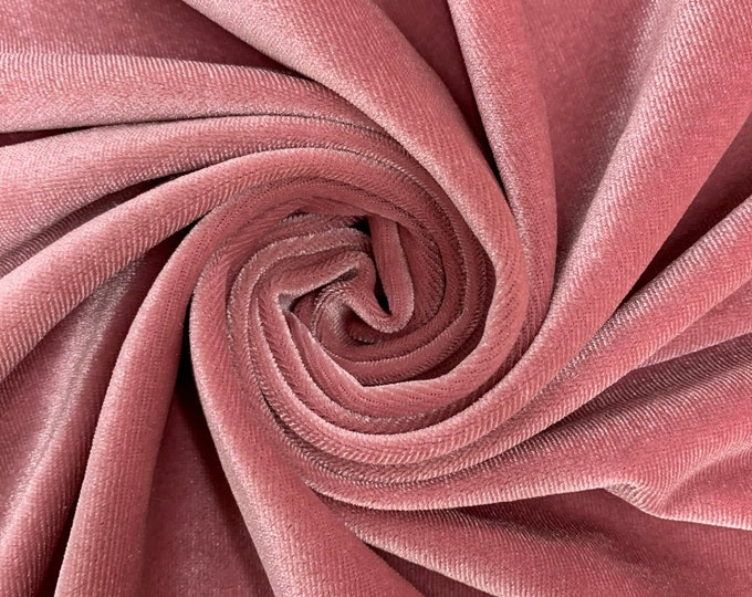 """Dusty Rose 60"""" Wide 90% Polyester 10 present Spandex Stretch Velvet Fabric for Sewing Apparel Costumes Craft, Sold By The Yard."""