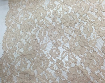 Champagne vintage coerded french lace embroider on a antique mesh. Wedding/Bridal/Nightgowns/Prom.