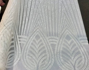 White shiny sequins geometric design embroidery on a mesh-dresses-prom-nightgown-sold by the yard-free shipping.