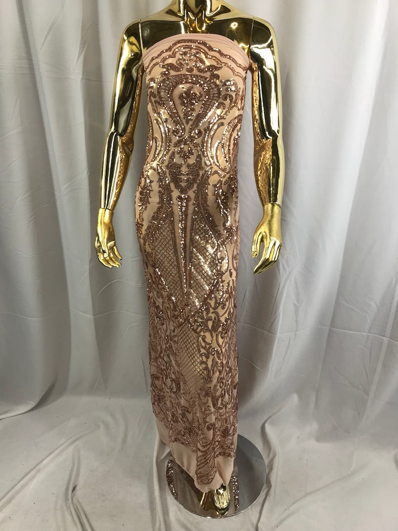 Rose gold princess design embroider with shiny sequins on a 4 way stretch power mesh-dresses-fashion-prom-nightgown-sold by the yard.