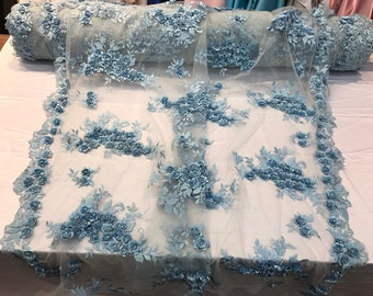 Light blue 3d floral design embroidery and beaded with rhinestones on a mesh lace-prom-nightgown-sold by the yard-free shipping in the USA