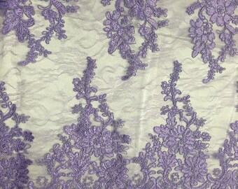 Lilac french corded flowers embroider on a design mesh lace fabric-sold by the yard-