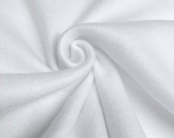 """White Solid Polar Fleece Fabric Anti-Pill 58"""" Wide Sold by The Yard."""