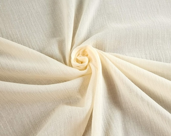 """Ivory Cotton Gauze Fabric 100% Cotton 48/50"""" inches Wide Crinkled Lightweight Sold by The Yard."""