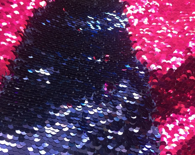 Navy blue / Fuchsia shinny mermaid fish scale 2 way stretch flip flop fabric-dresses-prom-nightgown-decorations-sold by the yard.