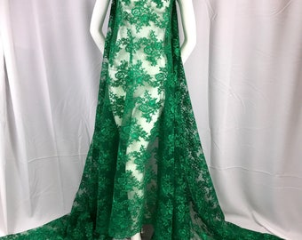 Green modern roses embroider and corded on a mesh lace-dresses-fashion-decorations-apparel-prom-nightgown-sold by the yard.