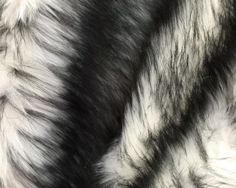 """White/black husky faux fur, 2 tone shaggy faux fur. Sold by the yard.60"""" wide."""