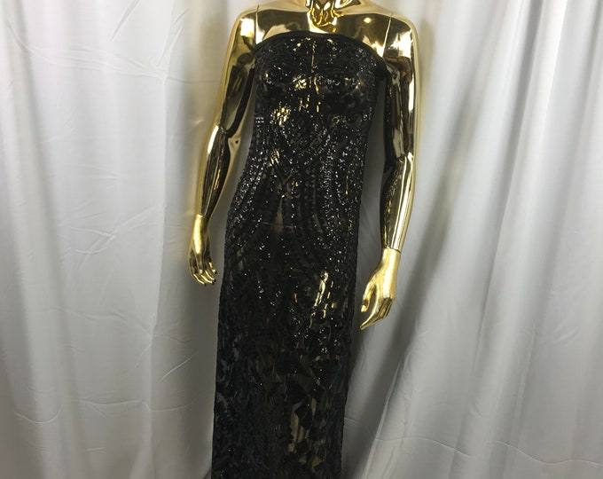 Black geometric diamond design embroidery with sequins on a 4 way stretch mesh-dresses-fashion-prom-nightgown-sold by the yard.