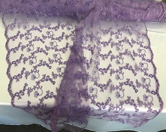 Lavender floral embroidery with shiny sequins and cord on a mesh lace-dresses-fashion-prom-nightgown-apparel-sold by the yard.