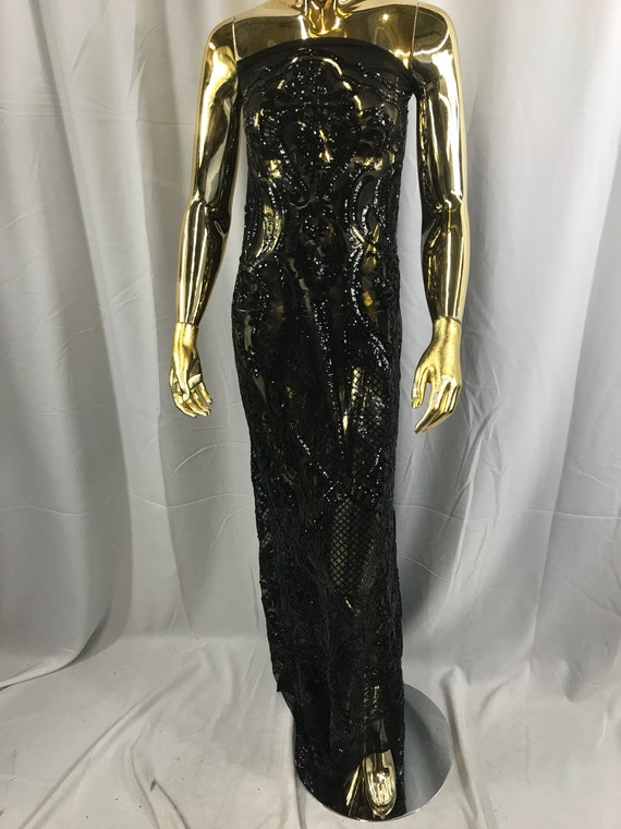 Black princess design embroider with shiny sequins on a 4 way stretch power mesh-dresess-prom-fashion-nightgown-apparel-sold by the yard.