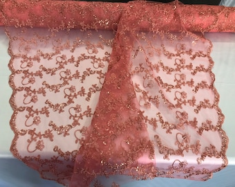Coral metallic floral embroidery with shiny sequins and cord on a mesh lace-dresses-fashion-prom-nightgown-apparel-sold by the yard.