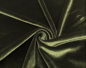"""Dark Olive 60"""" Wide 90% Polyester 10 present Spandex Stretch Velvet Fabric for Sewing Apparel Costumes Craft, Sold By The Yard."""