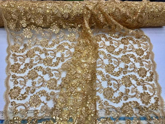 Gold flowers embroider with sequins and corded on a mesh lace-wedding-bridal-prom-nightgown-decorations-sold by the yard.