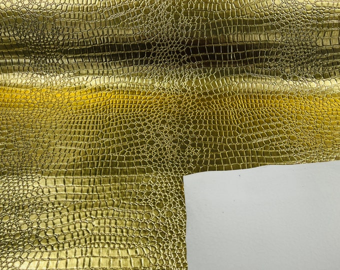 Gold Metallic Crocodile Vinyl Embossed 3D Scales-Faux Leather-Sold By Yard