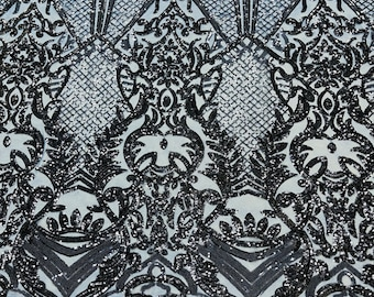 Navy Blue shiny sequin damask design on a 4 way stretch mesh-sold by the yard.