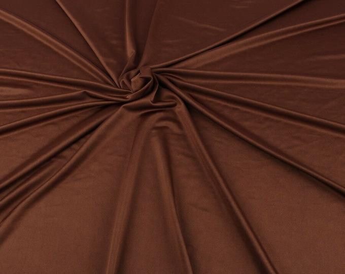 "Brown Shiny Milliskin Nylon Spandex Fabric 4 Way Stretch 58"" Wide Sold by The Yard"