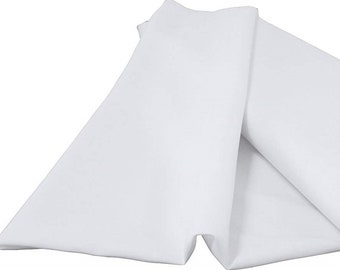 """White 60"""" Wide 100% Polyester Spun Poplin Fabric Sold By The Yard."""