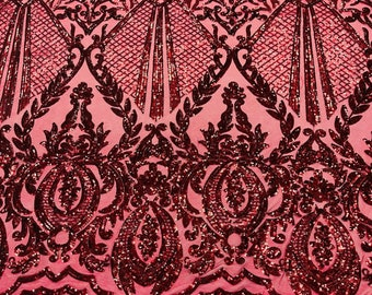 Burgundy shiny sequin damask design on a nude 4 way stretch mesh-sold by the yard.
