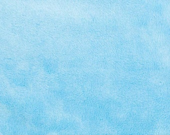 Turquoise Blue Minky Smooth Soft Solid Plush Faux Fake Fur Fabric Polyester- Sold by the yard.