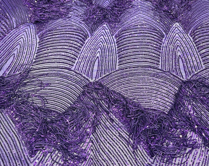 Purple shiny fringe sequins design on a 4 way stretch mesh fabric-prom-sold by the yard.