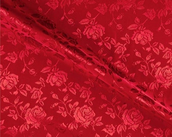 """Red 60"""" Wide Polyester Flower Brocade Jacquard Satin Fabric, Sold By The Yard."""