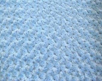 "Light Blue 58-60"" Wide Minky Swirl Rose Blossom Ball Rosebud Plush Fur Fabric Polyester Sold By The Yard."